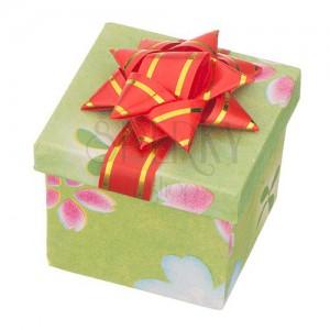 Krabička na darček - kocka s rôznofarebným motívom a mašľou