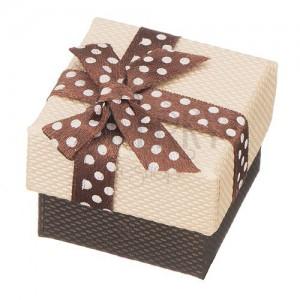 Krabička na prsteň - hnedá bodkovaná mašľa, béžový povrch