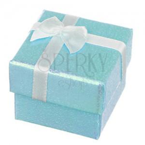 Darčeková krabička - perleťovo modrý povrch so stuhou