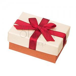 Krabička na obrúčky - béžovo-bronzová s bordovou stuhou