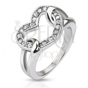 Oceľový prsteň - lesklé zirkónové srdce v slučkách