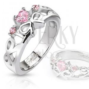 Prsteň z chirurgickej ocele - vyrezávané mašličky, ružové zirkóny
