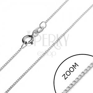 Retiazky zo striebra 925 - kolmo uchytené lesklé kocky, 0,75 mm