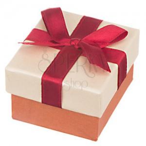 Krabička na darček - kocka s bronzovým leskom a bordovou stuhou