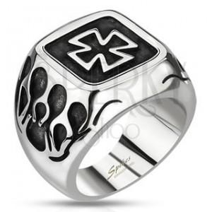 Pečatný prsteň z ocele - keltský kríž s plameňmi a patinou