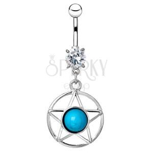 Oceľový piercing do bruška - hviezda v kruhu s modrým kameňom