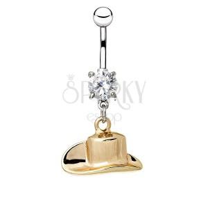 Oceľový piercing do pupku - kovbojský klobúk v zlatej farbe