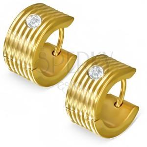 Vrúbkované kruhové náušnice so zirkónom v zlatej farbe