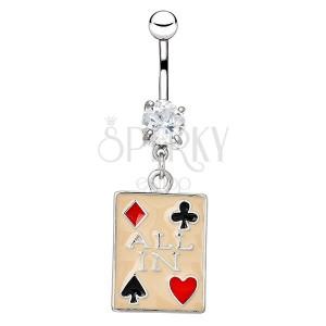 Piercing do pupku z ocele - béžová hracia karta, heslo ALL IN