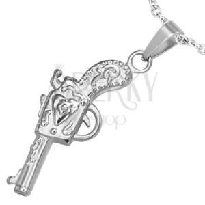 Prívesok z chirurgickej ocele - pištoľ dekorovaná ornamentmi