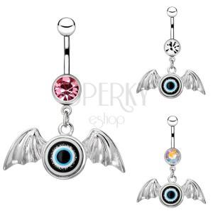 Piercing do bruška z chirurgickej ocele - oko s krídlami, zirkón