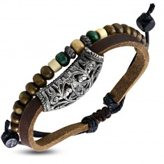 642de2c2a Šperky eshop - Kožený náramok - pás s kovovou ozdobou a šnúrka s korálkami  AB15.