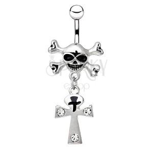Oceľový piercing do bruška - lebka s kosťami, kríž so zirkónmi