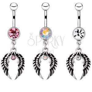 Piercing do bruška z ocele - pár anjelských krídel so zirkónom