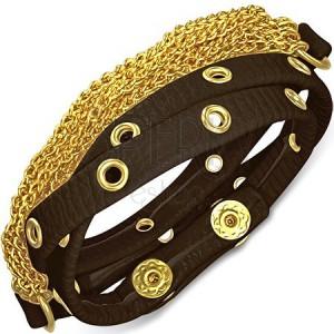 Kožený náramok - hnedý pás s vybíjaním a retiazkami zlatej farby