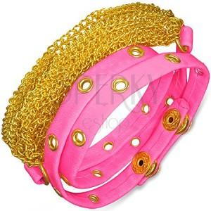 Kožený náramok - ružový pás s vybíjaním, retiazky zlatej farby