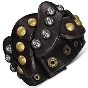 Kožený náramok - hnedé vybíjané zapletané pásy
