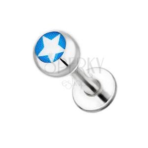 Labret z chirurgickej ocele - biela hviezda na modrom podklade
