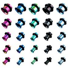 Tunel do ucha z titánu, anodizovaný, viacfarebný s gumičkou