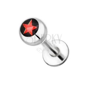 Oceľový piercing do brady - červená hviezdička na čiernom pozadí