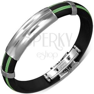 Čierny náramok z gumy - vzorované zelené pásy, hladká známka