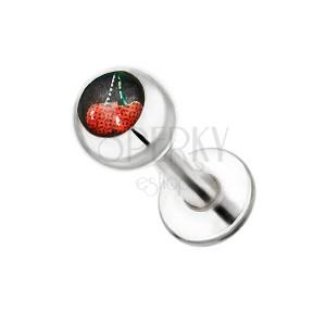 Piercing do brady z ocele - motív čerešní v guľôčke