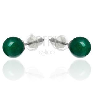 Oceľové náušnice s guľôčkou zeleného kameňa, puzetky