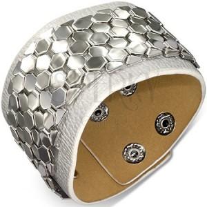 Kožený náramok - pás s kovovou ozdobou, motív šupiniek