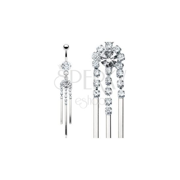 Luxusný piercing do pupka z ocele so zirkónovou zvonkohrou