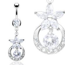Luxusný piercing do bruška zirkónový kvet, vykladaný kruh