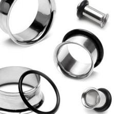 Piercing do ucha - tunel z chirurgickej ocele so zahnutým okrajom a gumičkou