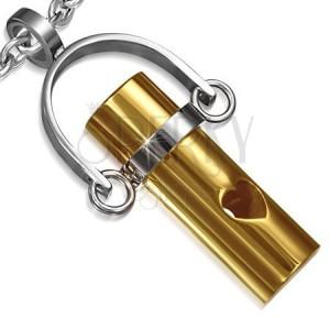 Oceľový prívesok - valček zlatej farby na závese, výrez srdca