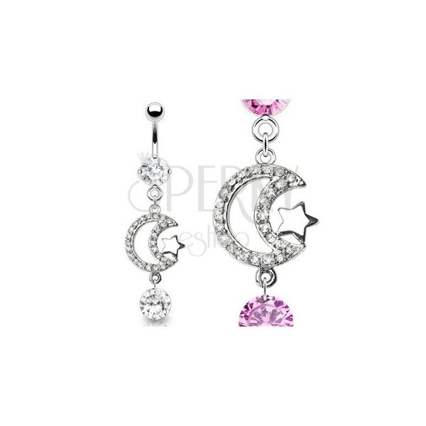 Luxusný piercing brucha zirkónový mesiac a lesklá hviezda
