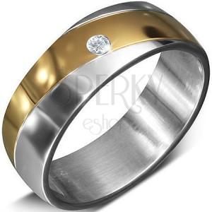 Hladká oceľová obrúčka so zirkónom v páse zlatej farby