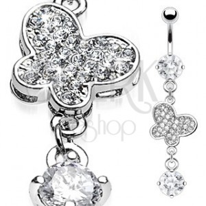 Luxusný piercing do pupka zirkónmi vykladaný motýľ