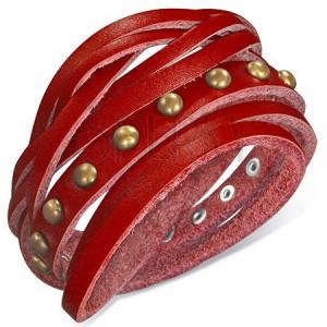 Náramok z kože - červený opasok vybíjaný polguľami