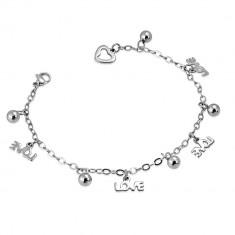 Šperky eshop - Oceľový náramok - retiazka s nápisom LOVE a guľôčkami AA14.24