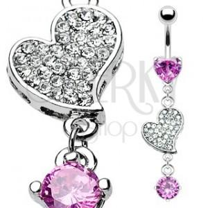 Luxusný piercing do pupka zirkónmi vykladané srdce