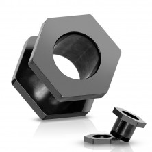 Tunel do ucha z ocele 316L, anodizovaný titánom, čierna matica so závitmi