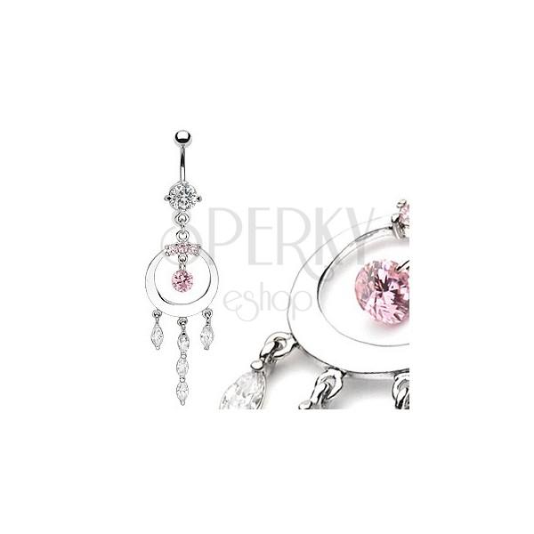 Luxusný piercing bruška lesklý kruh so zirkónmi