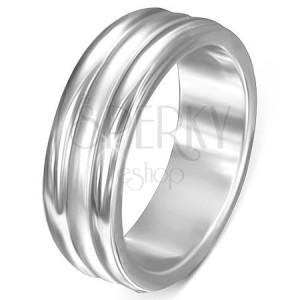 Oceľový prsteň - lesklé pásy po okrajoch, matný pás v strede