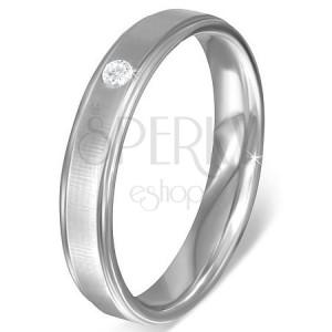 Oceľový prsteň - pás so saténovým leskom a zirkónom