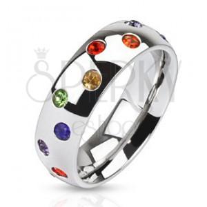 Oceľový prsteň - obrúčka striebornej farby, farebné kamienky