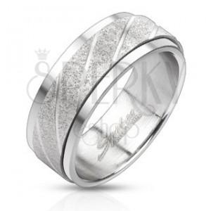 Oceľový prsteň - pieskovaný pás so šikmými ryhami
