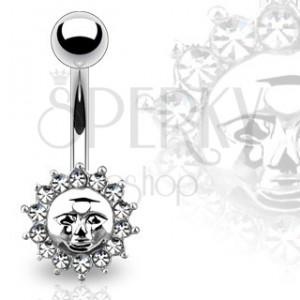 Piercing z ocele do pupku - slnko s ľudskou tvárou, zirkóny