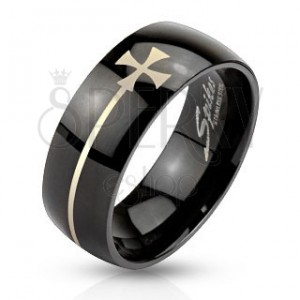 Prsteň z ocele čiernej farby s maltézskym krížom