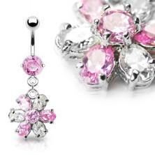 Luxusný piercing do brucha kvet - ružovo číry zirkón