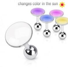 Šperky eshop - Piercing do ucha z ocele - krúžok mení farbu na slnku AA24.09 - Farba piercing: Fialová