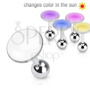 Piercing do ucha z ocele - krúžok mení farbu na slnku
