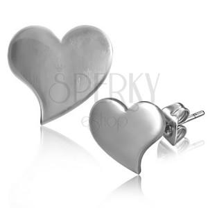 Lesklé puzetové náušnice z ocele - prehnuté srdce